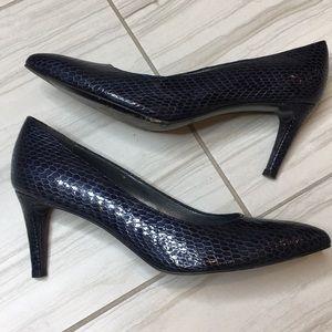 Stuart Weitzman Leather Navy Heel